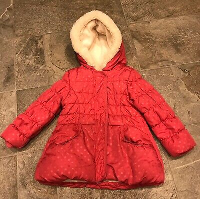 Girls Childs George Pink Spotty Quilted Padded Hooded Zip Up Coat Age 3-4 Years