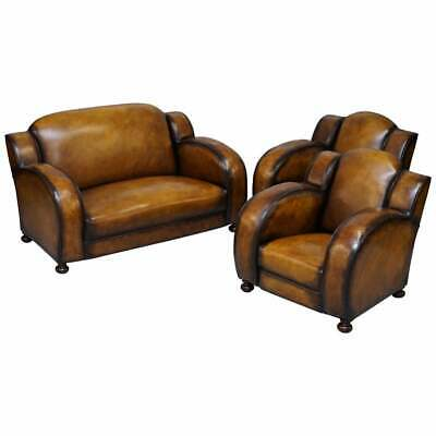 Rare 1920 Art Deco Restored Brown Leather Sofa & Pair Of Armchairs Cloud Suite