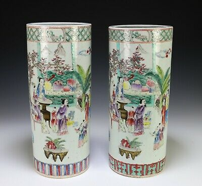 Large Pair of Chinese Porcelain Cylindrical Vases with Figures
