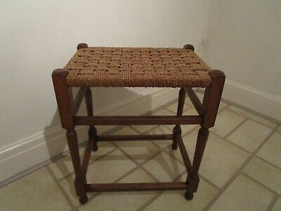 Vintage Tall String Topped Stool 52cm High
