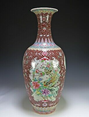 Large Chinese Porcelain Vase with Colorful Reserves