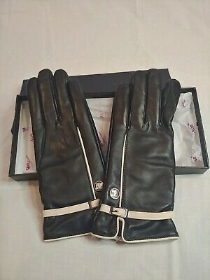 MarSue Women's Cashmere Leather Gloves Black & Ivory Buckle M Medium