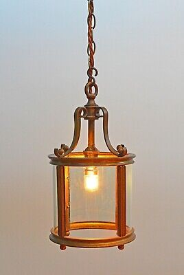 Antique Arts And Crafts Hall Brass and Glass Lantern / Light From 1900's