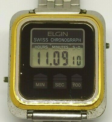 Elgin 9427-0005 LCD LED Quartz Rare Vintage Swiss Chronograph Watch Collectible