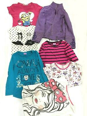 Girl Clothes Bundle Age 6-7 Years Tops Jacket 7 Items Minion Green Pink Autumn