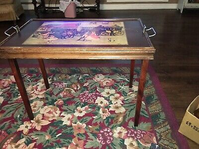 Vintage Ferguson Bros Mfg Butler Table With Ludovici Painting
