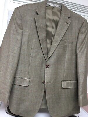 Lauren Ralph Lauren Brown Woven 2 Button Men's Blazer Wool & Silk, Size 40S, EUC