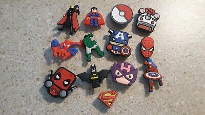 Lot of 13 Super Hero charms  for Croc shoe Craft, Scrapbook or cake decorating *