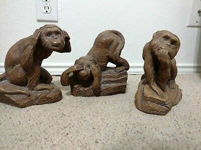 Vintage Hear no evil speak no evil see no evil sculpture wise monkeys antique