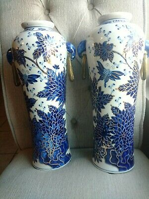 Qianlong Signed Antique Chinese Blue White Porcelain PAIR Floral butterflies