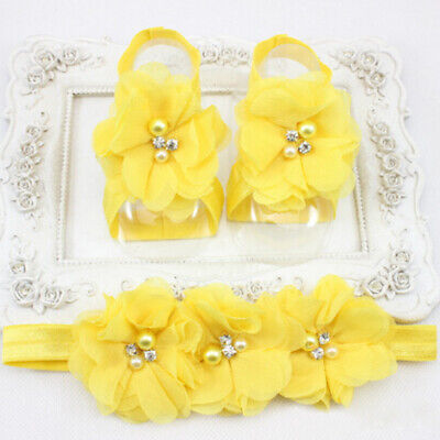0-12Month Baby Girl Barefoot Sandals Christening Wedding Soft Flower Shoes G9X