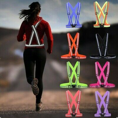 1Pc Safe Reflective Belt Vest Straps for Running Walking Cycling Elastic Protect
