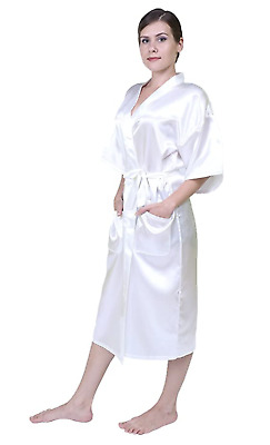 Women Pure Color Long Robes,Nightgown Bridesmaid Kimono with Oblique V-Neck(Whit