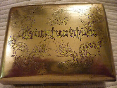 Old Vintage Chinese Brass Box Engraved Dragons German Writing 1940's