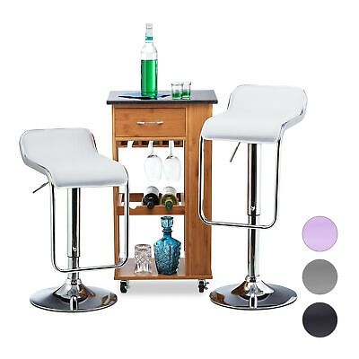 Adjustable Bar Stool Set of 2, Swivel Counter Stools, Bistro Chair Retro Style