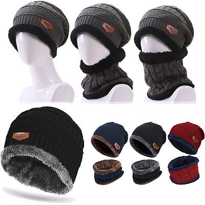 Mens Womens Winter Warm Crochet Knit Baggy Beanie Skull Hat Ski Cap Scarf Set
