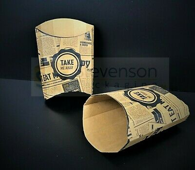 News printed Chip shop scoop cone fast food takeaway party tray recyclable brown
