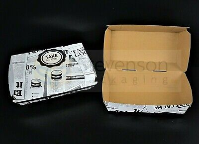 News printed Chip shop box small meal fast food takeaway party tray Recyclable