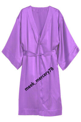 Satin Fabric Sheer Medium Purple Night Wear One Peace Gown Night Dress Wear S79