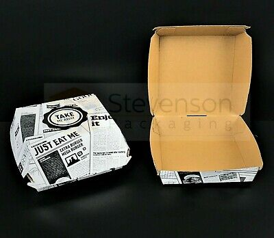 News printed Chip shop box Burger meal fast food takeaway tray Recyclable