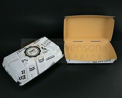 News printed Chip shop box Large meal fast food takeaway party tray Recyclable