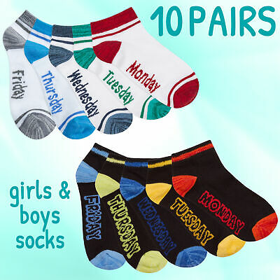 Childrens Kids Boys & Girls Low Cut Ankle High Socks Trainer Liners White Black