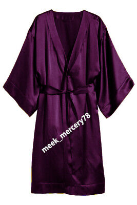 Bathrobe Violet  * Night Dress Wear One Peace Gown Satin Women's Night Wear S79