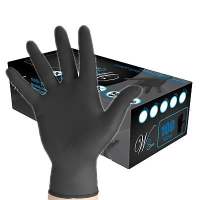 WE CARE Black Nitrile INDUSTRIAL LATEX, POWDER FREE Disposable Gloves (100/Box)