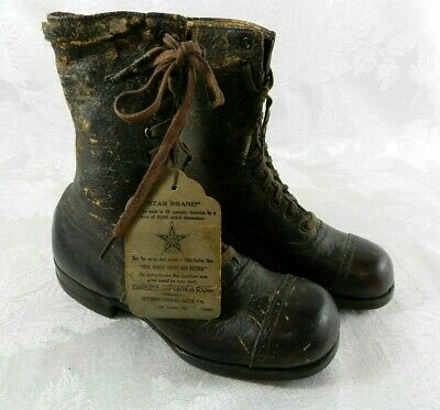 Vtg STAR BRAND Roberts Johnson & Rand Leather Child's Laced Boots Shoes ORIG TAG