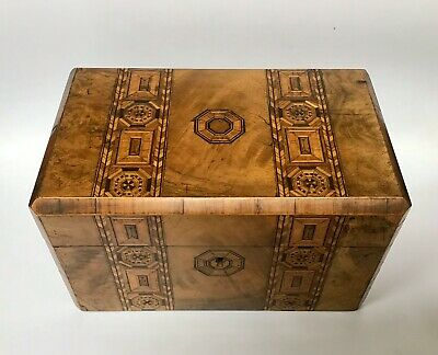 Georgian Inlaid Burl Walnut Tea Caddy Parquetry Cross Banding Stringing