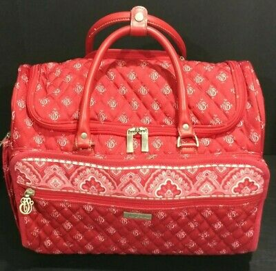"""Vera Bradley 22"""" Nantucket Red Travel Carry-On Wheeled Rolling Duffel Luggage"""