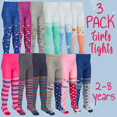 3 Pairs Kids Girls Tights 2-3 3-4 5-6 7-8 Years Spotted Dotted Colourful Vibrant