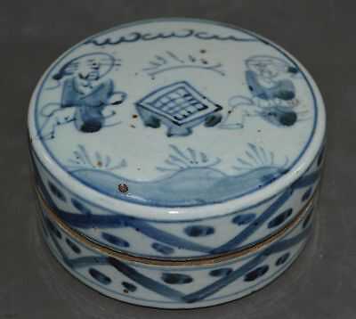 China Late Qing Dynasty Folk Wedding Dowry Blue&White Porcelain Pot Box 瓷器粉盒
