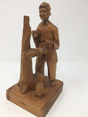 Vintage Folk Art Wood Carving Carved Man Signed Quebec Montreal Canada