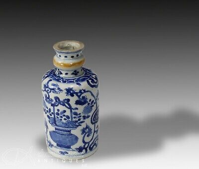 Antique Chinese Blue and White Porcelain Bottle - Kangxi Period