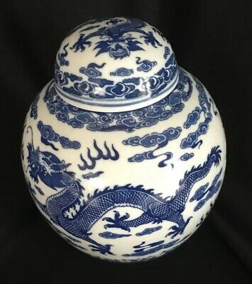 Asian Oriental Chinese Ginger Jar Blue And White Porcelain Dragon Marked 7 Inch