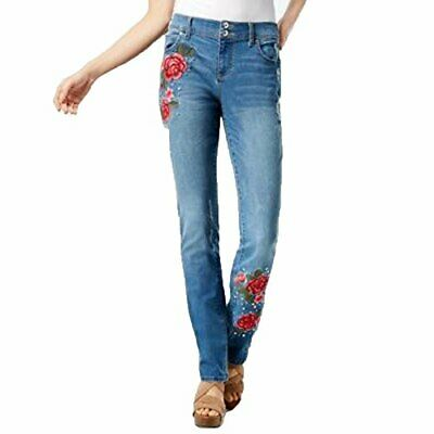 Inc Curvy-Fit Embroidered Boyfriend Jeans Womens 6 Blue pants MSRP $156