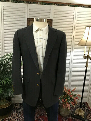 Austin Reed Charcoal Gray Brass Button Mens Sport Coat Jacket Blazer 38R  #H3