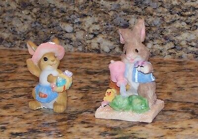 a pink rose SILLY LITTLE BUNNY STONE miniature figurine Easter Ganz