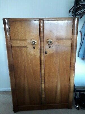 Detailed Inlaid Mahogany Gentlemans Wardrobe