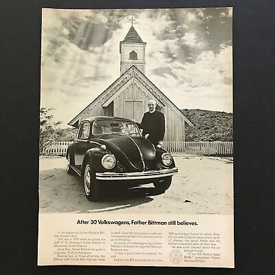 1969 Volkswagen Beetle Father Bittman Mission VW Bug Photo Print Magazine Ad