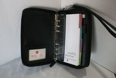 Rosetti Black Leather Small Pocket Jotter Binder Planner with Wallet