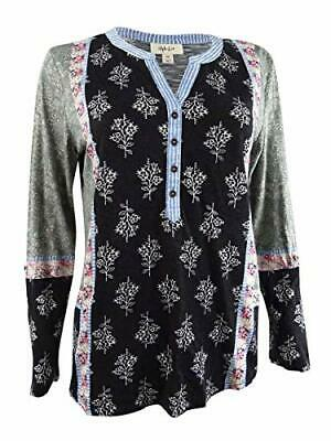 Style & Co Mixed-Print Roll-Tab Top Womens S Petite Black shirt MSRP $44