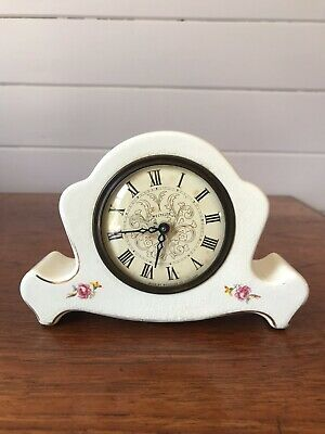 Vintage Westclox USA Porcelain Mantel Table Clock Made In USA