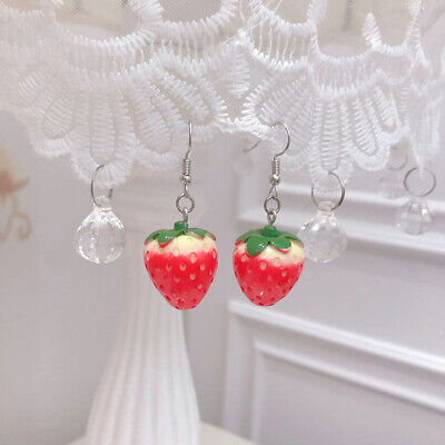 Alloy Vivid Red Strawberry Drop Earrings Women Costume Jewelry Chic