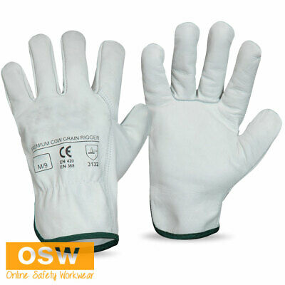 BN Natural Workers Premium Cow Grain Leather Rigger Gloves Protection (1 Pair)
