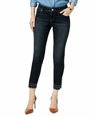 I.N.C. Curvy-Fit Studded Released-Hem Skinny Womens 2 Blue pants MSRP $117