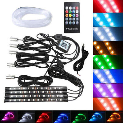 9in1 Car Interior RF Remote Control RGB LED Neon Strip Atmosphere Footwell Light