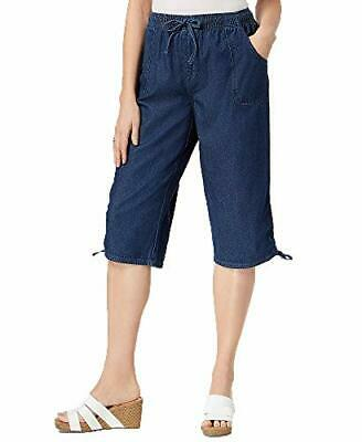 Karen Scott Cotton Ruched-Leg Pull-On Pants Womens L Blue pants MSRP $28