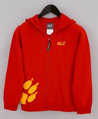 Boys Jack Wolfskin Hooded HoodieFamily Red Cotton Zip Front 152 11-12 XMP419